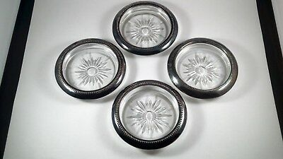 NEW Stylish Vintage Crystal and Silver Coaster/Ashtray Set by Leonard Silverplat