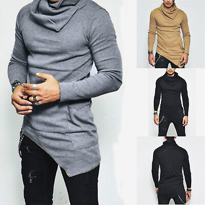 Fashion Men's Irregular Knitted Sweater Jumper Solid Pullover Slim Blouse Tops