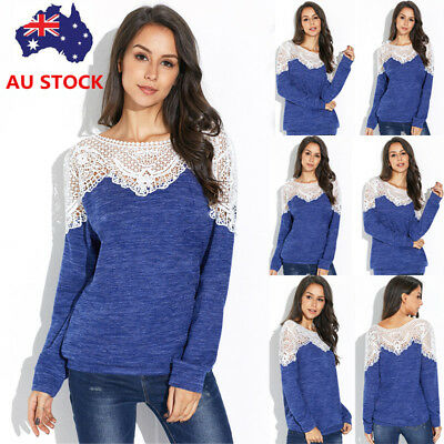 Plus Size Women Lace Jumpers Pullover Long Sleeve Knitted Sweater Tops Knitwear
