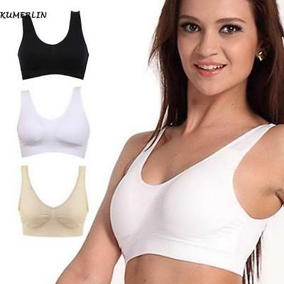 New Women Ladies V-Neck Stretch Wire Free Pure Color Bra Yoga Sports Crop Top