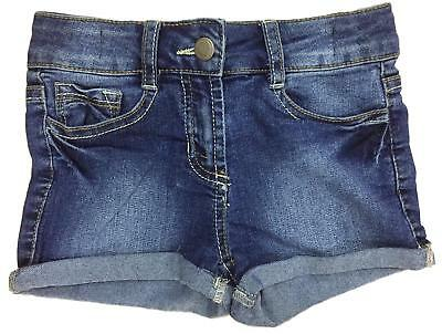 Girls Denim Shorts Blue Turn Up Hot Pants Ex Uk Store 3 4 5 6 7 Years New