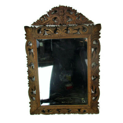 Stunning Large ornate Carved Wood  Hall Mirror Beveled Glass Vanity Antique WOW