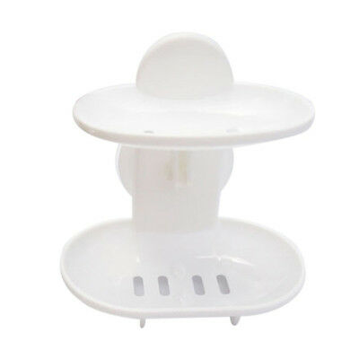 Double Soap Suction Soap Holder Cup Tray for Shower Bathroom (White) P8H5