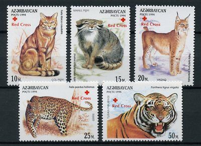 Azerbaijan 1997 MNH Big Cats Red Cross OVPT 5v Set Leopards Tigers Lynx Stamps
