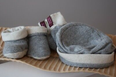 GREY & CREAM Baby Booties Mittens Hat Gift Set Cashmere Made in UK Turtle  Doves