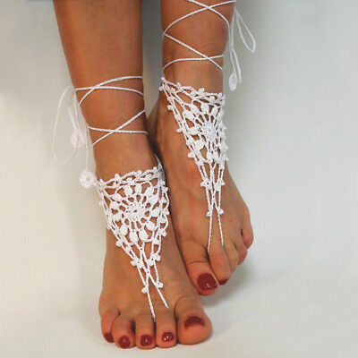 Crochet Barefoot Sandals,Beach Foot jewelry Anklets ,Wedding shoes,New sandles