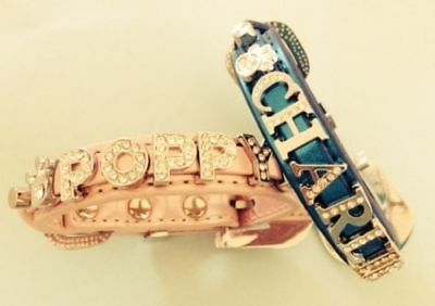 Personalised Dog Collar with Rhinestone Buckle (Daiamante / Bling) . UK SELLER