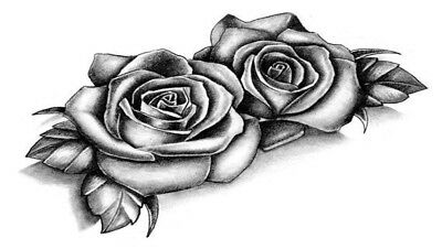 High Quality 9cm x 5cm Fake Tattoo Rose Flower Waterproof Temporary Body Art