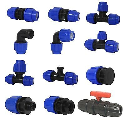 MDPE Plastic Compression Fittings 20mm for water pipe. Irrigation. Wras Approved