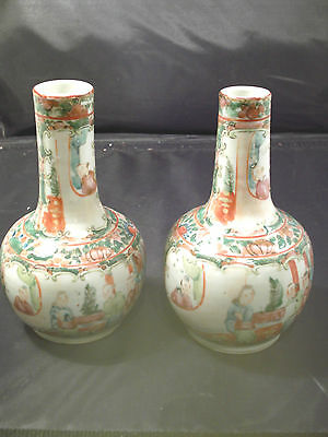 Antique Pair Of  Chinese Canton Famille Rose Bottle Vases