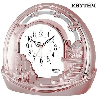 Rhythm 7443/18 Table Clock Quartz with Pendulum Pink Rose Gold Colors with