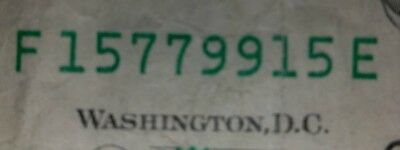 Fancy Serial Number Bookend/Repeater $1 Dollar Bill Series 2009,#15 7799 15 (HB)