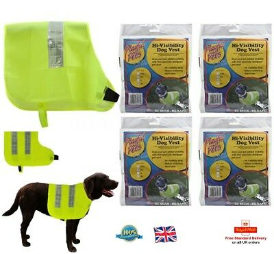 Hi Visibility Dog Vest Fluorescent Pet Safety Jacket Puppy Night M  L  XL XXL UK