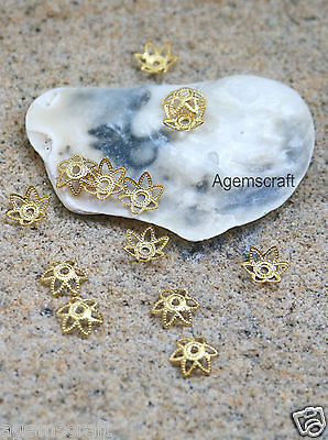 30 bright Gold plated delicate 7mm Filigree Flower Bead Caps Craft beading new