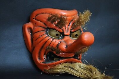 Japanese Antique TENGU OMEN ( long nose ) ceramic mask