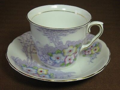 Colclough #6519 Cup and Saucer Lavender Trees Pink Yellow Blue Flowers Gold Trim