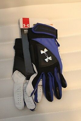 Under Armour Women's Laser II Softball Batting Gloves Medium Blue MSRP $40 NEW