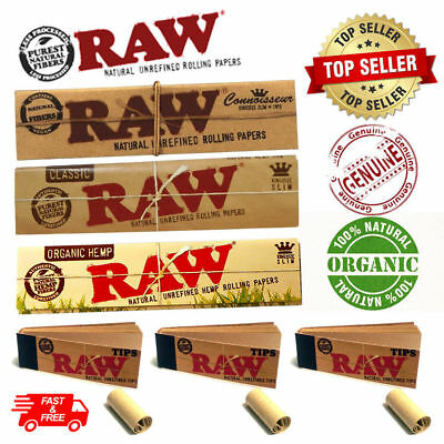 Raw Rolling Papers Kingsize Organic, Roach Tips Connoisseur Rizla Alternative