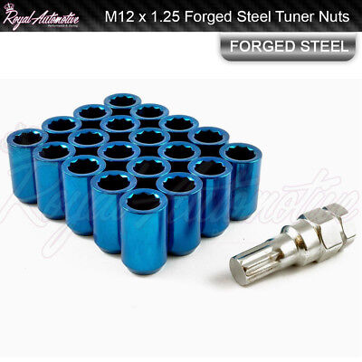 M12 x 1.25 Tuner Nuts for Alloy Wheels Slim Internal Drive Forged Steel Blue