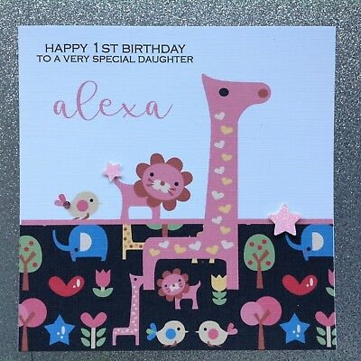 PERSONALISED Handmade 1st BIRTHDAY Card Granddaughter Niece Daughter ANY AGE