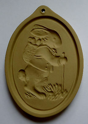 1984 Brown Bag Cookie Art~Stoneware Craft Mold/Cutter~Easter RABBIT Eggs on Back