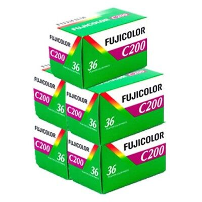 Fuji Fujicolour C200 35mm 36exp 5 Rolls Cheap Colour Film - Free UK Postage