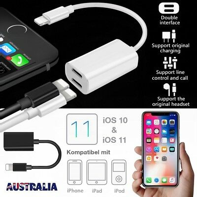 Dual Lightning Adapter Splitter Headphone Audio Charger for iPhone X 7 8 Plus 6S