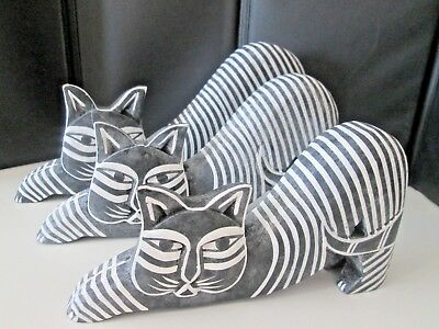 """Set of 3 Blk/White Wooden Cats graduating sizes, up to 4 1/2"""" tall up to 9"""" wide"""