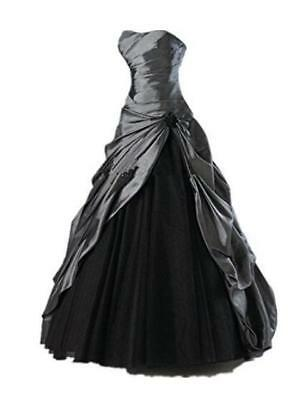 Gothic Vintage Black Wedding Dresses Strapless Taffeta Tulle A Line Bridal Gowns