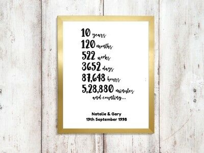 personalised 10 year Print wedding anniversary a4 gloss picture gift 3 UNFRAMED