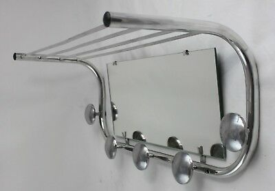 61 cm - BAUHAUS - Wandgarderobe mit Spiegel - original ART DECO - Coat Rack