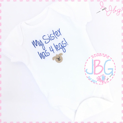 Personalised 4 legs Baby Vest,Bodysuit, pet siblings,New baby gift,funny clothes
