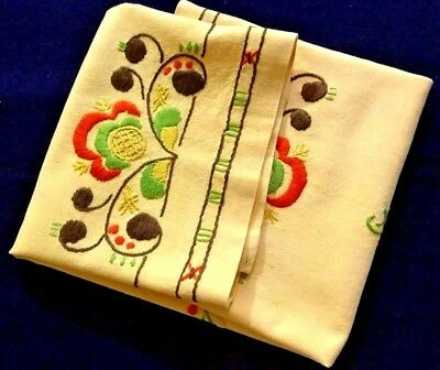 """1920-30's Great Old Hungarian Hand Embroidered Yellow Tablecloth 25"""" x 23"""""""