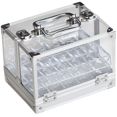 600PC Acrylic Chip Case/ 600 Count Chip Carrier w/ 6 Chip Trays. New Ship Free!