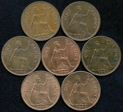 7 Great Britain 1 Penny Coins 1961 - 1967