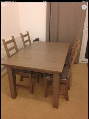Ikea Stornas Dining Table And Kaustby Chairs X 4 Grey Brown 200 00 Picclick Uk
