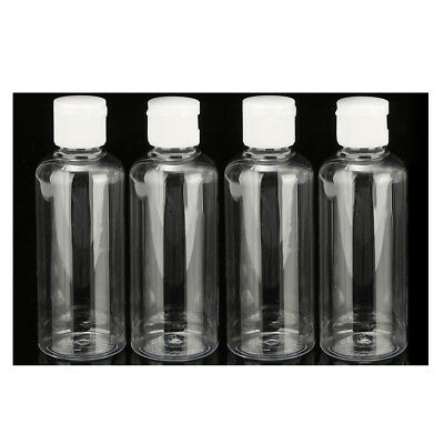 4 x 100ml Plastic Clear Flip Bottles Travel Shampoo Lotion Cosmetic Container FP