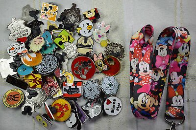 Disney trading 25 pin lot starter set + NEW Minnie Mouse colorful lanyard