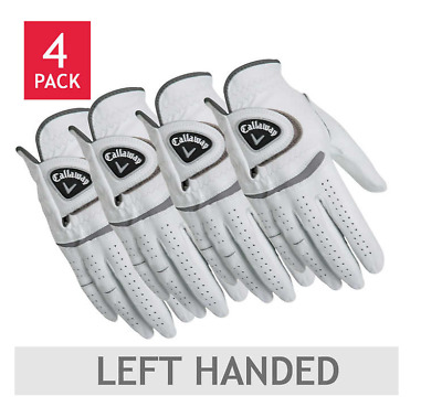 4-Pack Callaway Men's Cabretta Leather Golf Glove Left Handed Worn on Right Hand