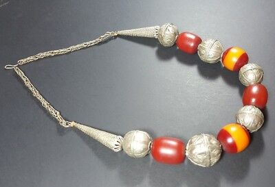 Vintage Antique Yemenite Bedouin Tribal Ethnic Globe Beads Silver Necklace N28