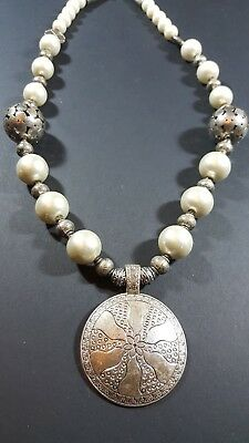 Vintage Antique Tribal Ethnic Bedoiun Round Pearl Silver Necklace N45