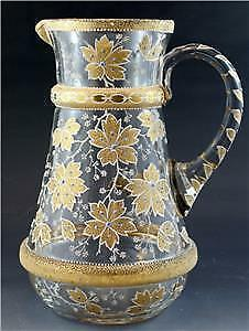 Antique Circa 1890's Moser Bohemian Gold Floral Coralene Clear Glass Pitcher