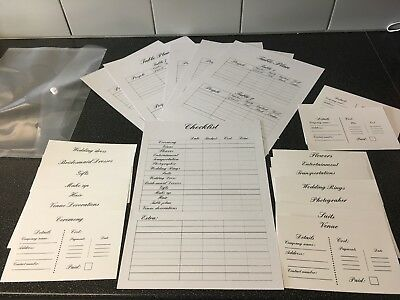 Wedding Planner File Book Dairy Check List Table Plan Organisers