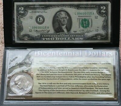 1976 BICENTENNIAL COIN AND CURRENCY INCLUDES IKE DOLLAR and $2 NOTE