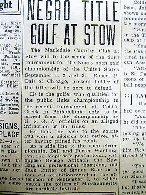 1928 newspaper COLORED GOLF ASSOCIATION holds US Open tournament 4 NEGRO GOLFERS