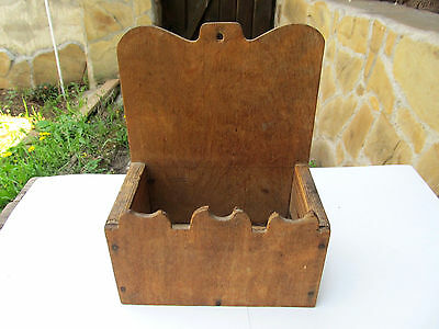 Antique Primitive Old Hand Carved Wooden Wall Hanging Kitchen Box