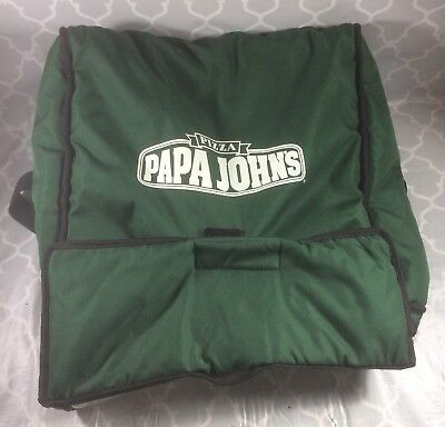 Papa Johns Green Insulated Pizza Delivery Bag Carrying Case Large Size Handles