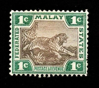 1901 Federated Malaya States - No.18a(a4) 6 Pence, Green & Gray - MH/Org.Gum