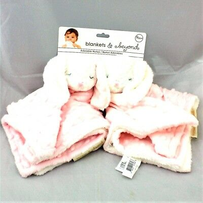 2 Pack Pink Minky Bunny Security Blanket NuNu Lovey NWT Blankets & Beyond