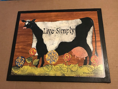 """LIVE SIMPLY country primitive cow inspirational kitchen home decor sign 9x11"""""""